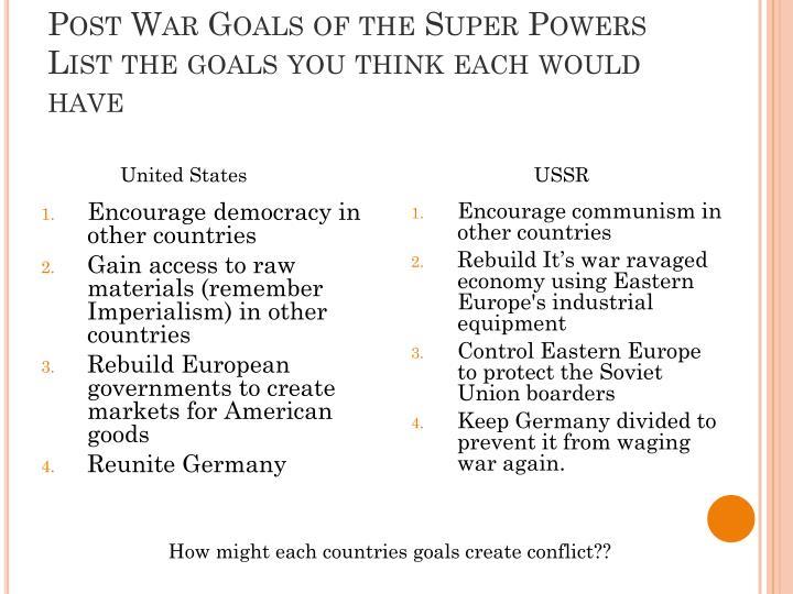 Post War Goals of the Super Powers