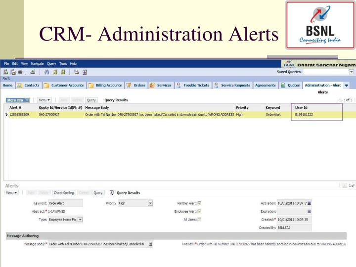 CRM- Administration Alerts