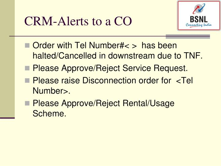 CRM-Alerts to a CO