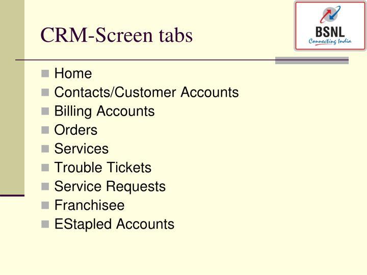 CRM-Screen tabs