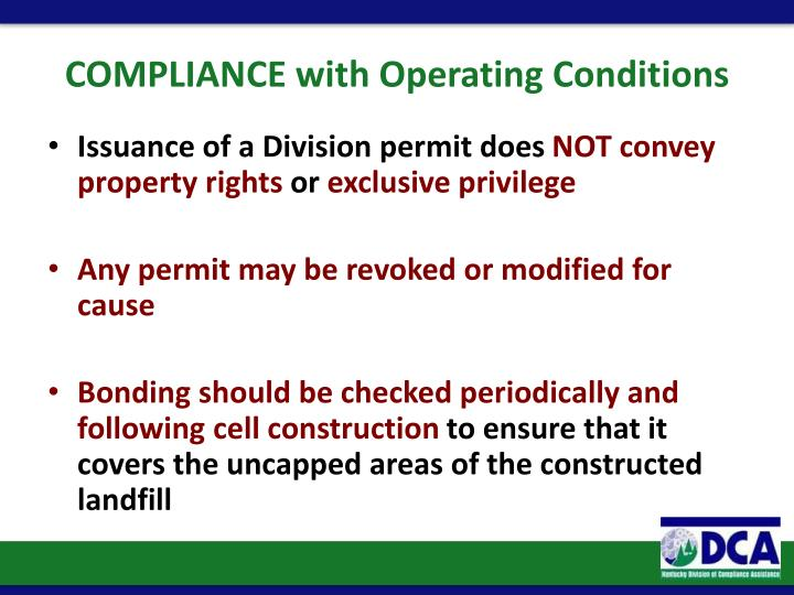 COMPLIANCE with Operating Conditions