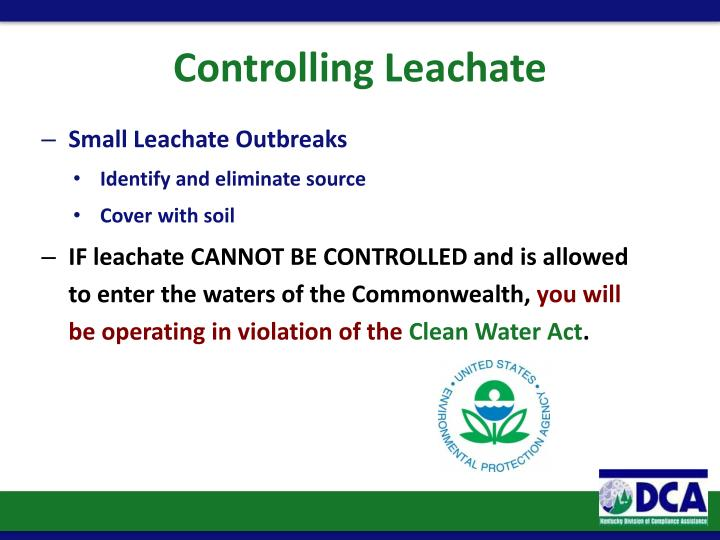 Controlling Leachate