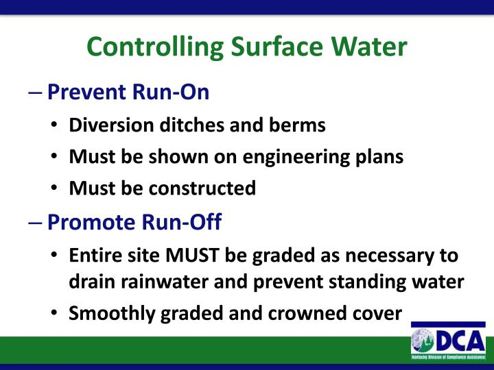 Controlling Surface Water