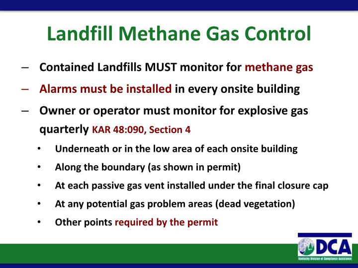 Landfill Methane Gas Control