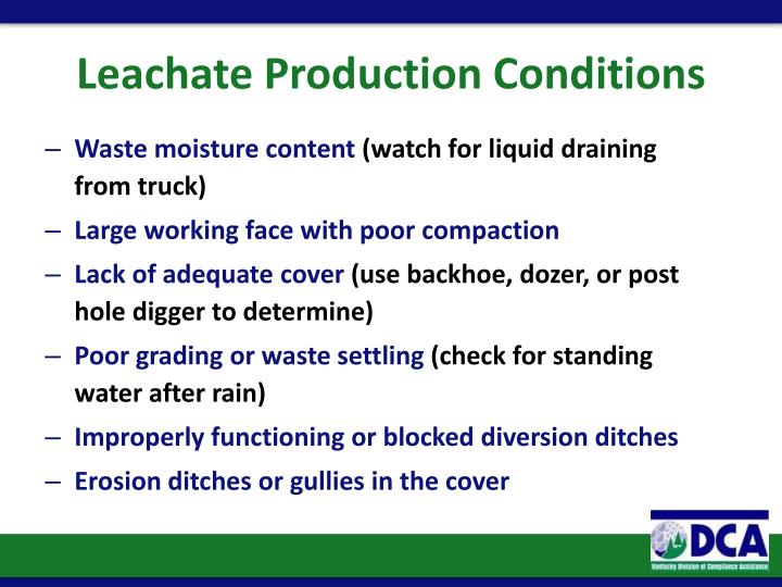 Leachate Production Conditions