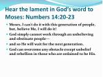 hear t he lament in god s word to moses numbers 14 2 0 23