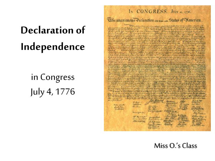 Declaration of independence in congress july 4 1776