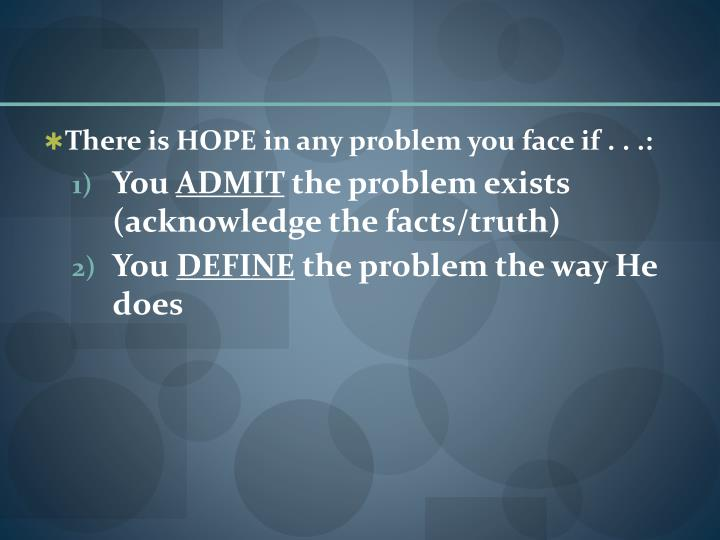 There is HOPE in any problem you face if . . .: