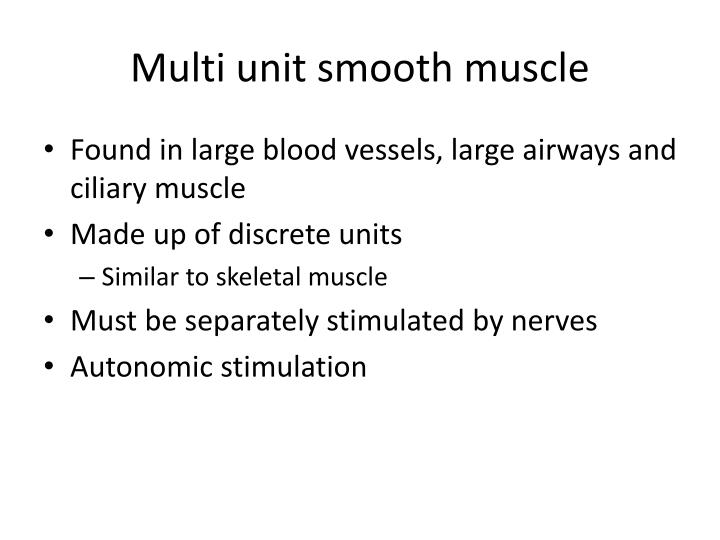 Multi unit smooth muscle