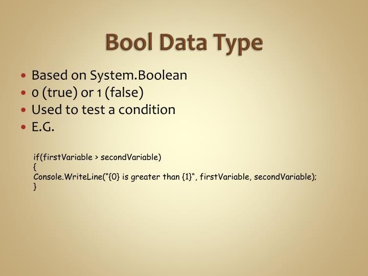 Bool Data Type