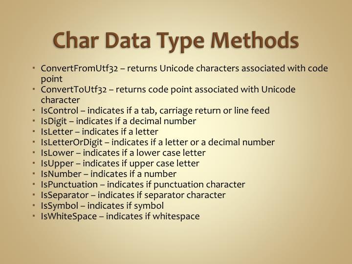 Char Data Type Methods