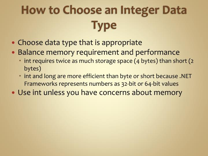 How to Choose an Integer Data Type