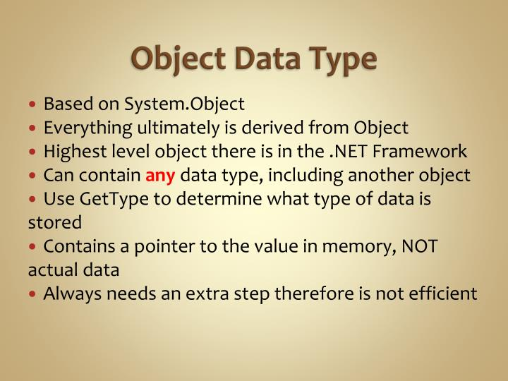 Object Data Type