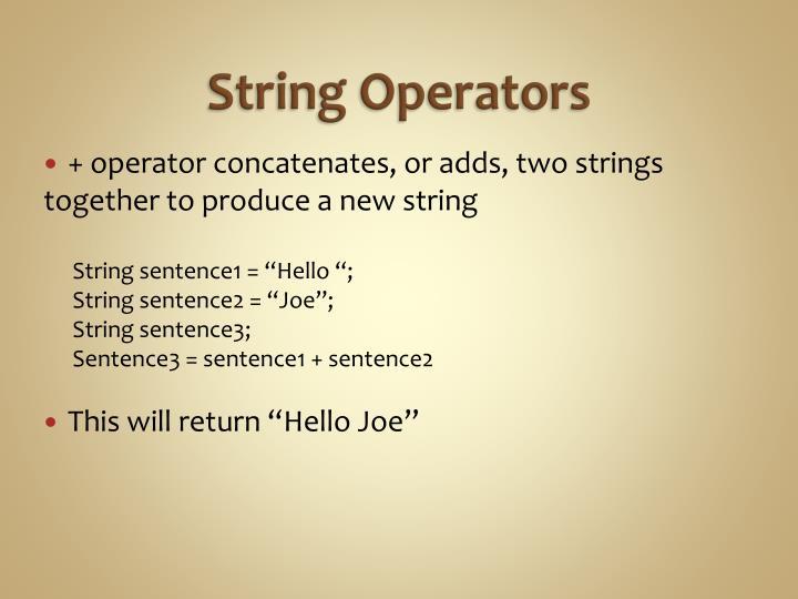 String Operators
