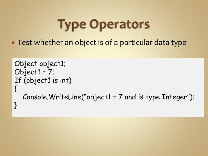 Type Operators