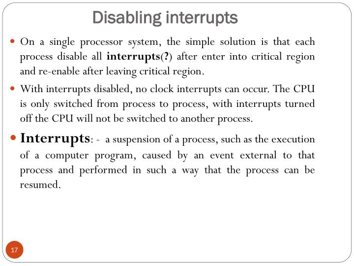 Disabling interrupts