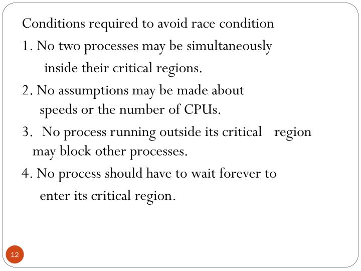 Conditions required to avoid race condition