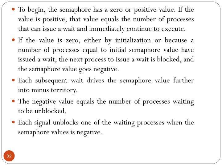 To begin, the semaphore has a zero or positive value. If the value is positive, that value equals the number of processes that can issue a wait and immediately continue to execute.