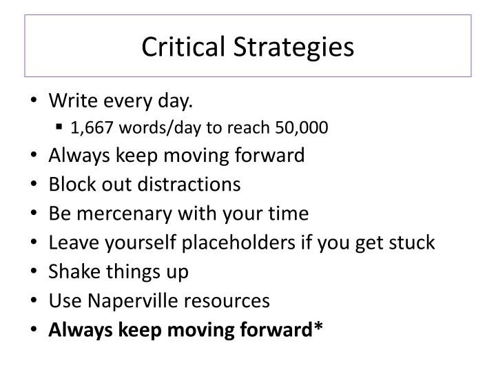 Critical Strategies