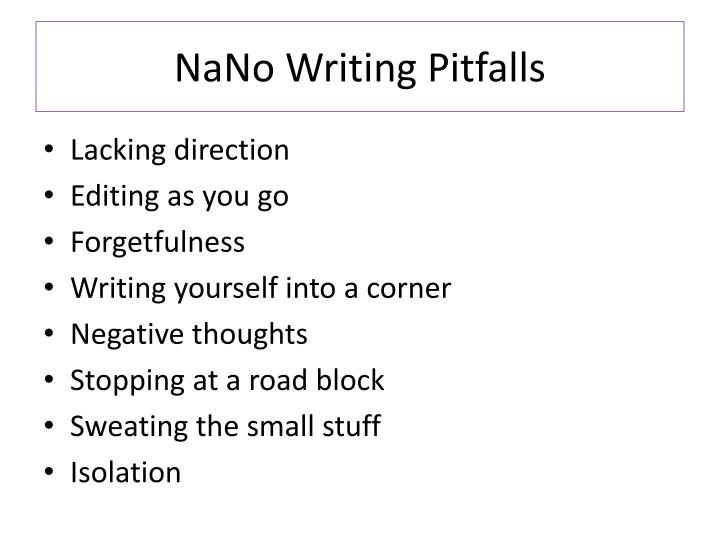 NaNo Writing Pitfalls