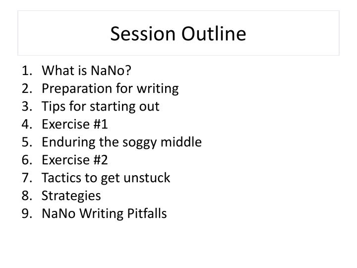 Session outline