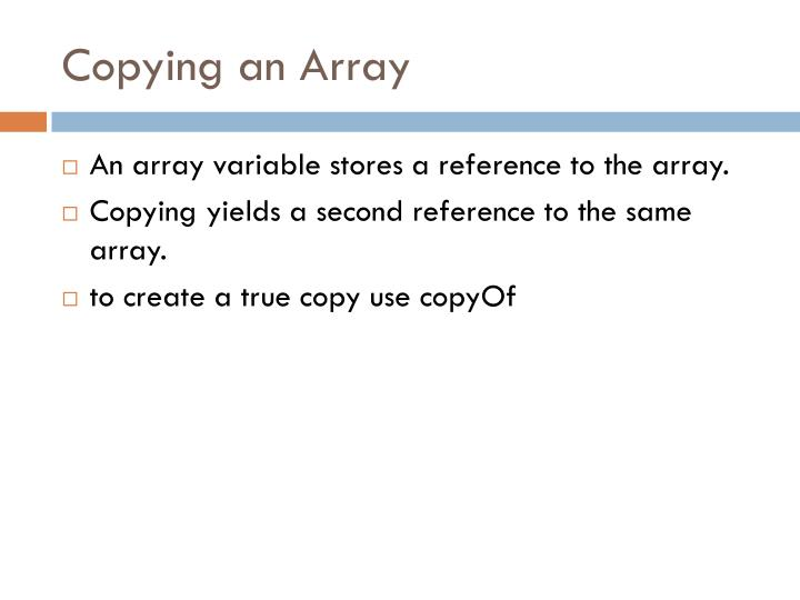 Copying an Array