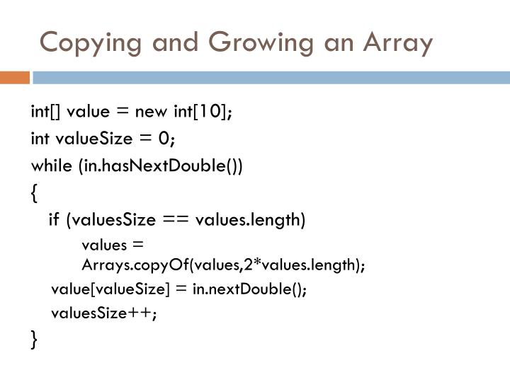 Copying and Growing an Array