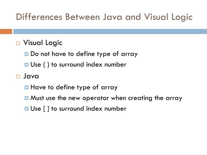 Differences Between Java and Visual Logic