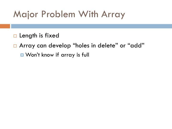 Major Problem With Array