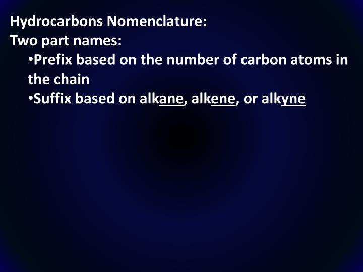 Hydrocarbons Nomenclature: