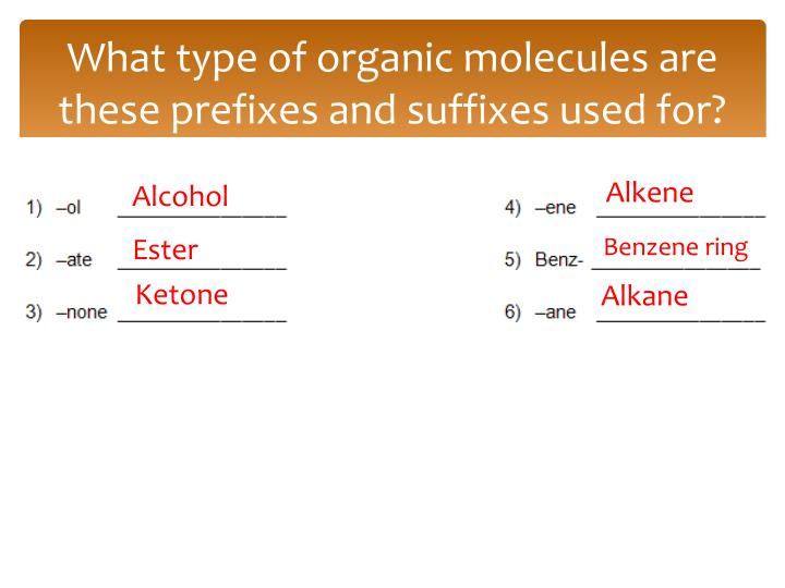 What type of organic molecules are these prefixes and suffixes used for