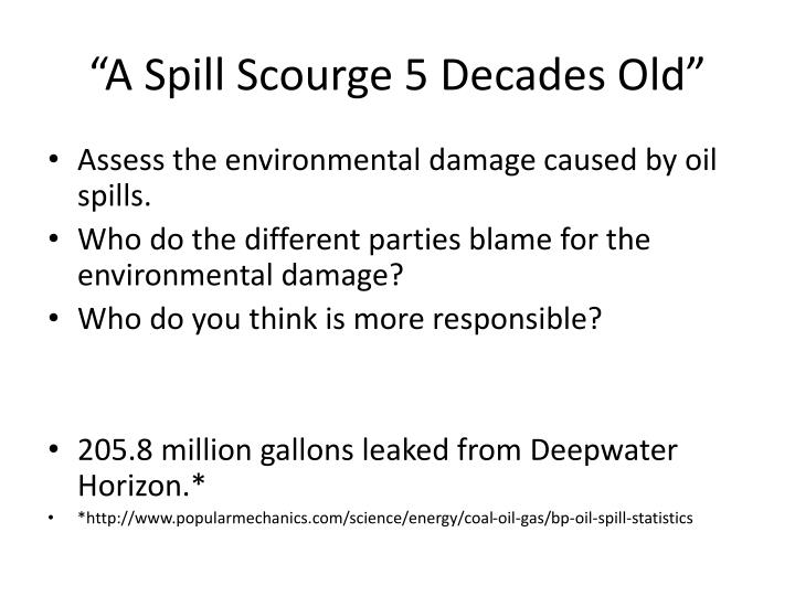 """A Spill Scourge 5 Decades Old"""