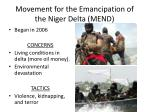 movement for the emancipation of the niger delta mend