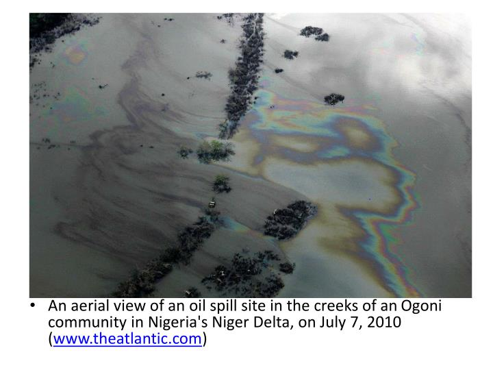 An aerial view of an oil spill site in the creeks of an