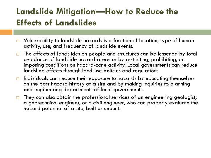 effect of landslipe Effects from earthquake-triggered landslides landslide damage  from the northridge earthquake was only moderate because.