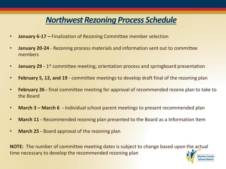 Northwest Rezoning Process Schedule