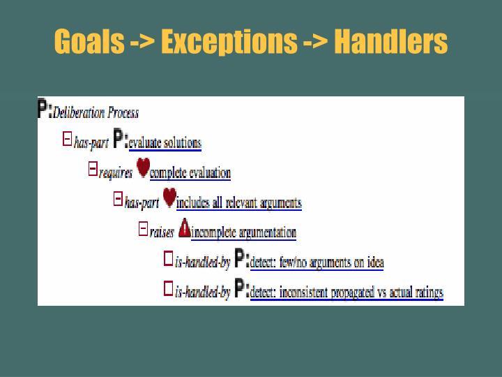 Goals -> Exceptions -> Handlers