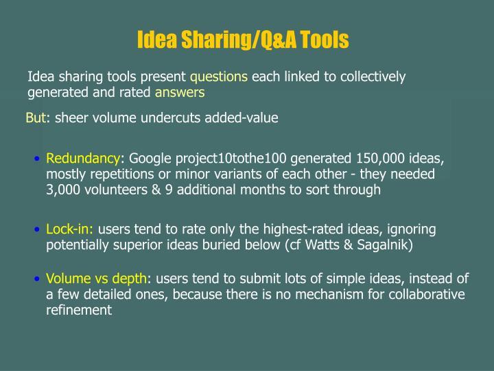 Idea Sharing/Q&A Tools