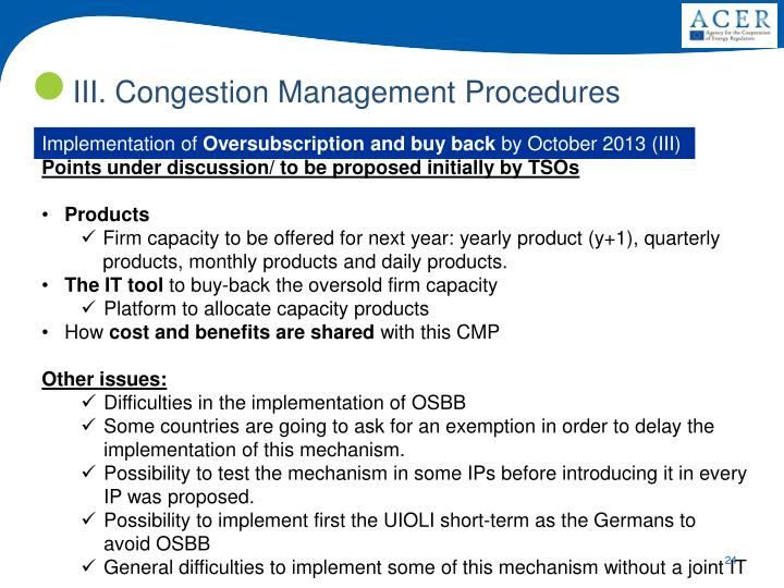 III. Congestion Management Procedures