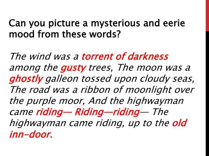 Can you picture a mysterious and eerie mood from these words?