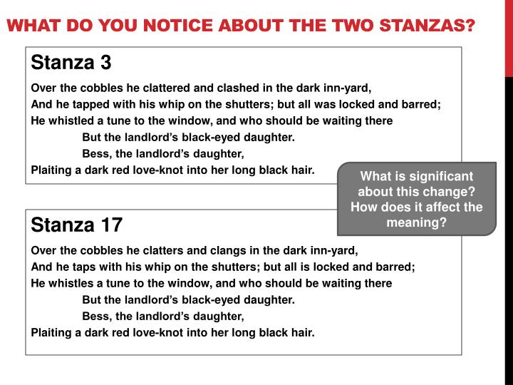 What do you notice about the two stanzas?