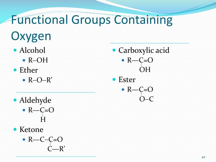 Functional Groups Containing Oxygen