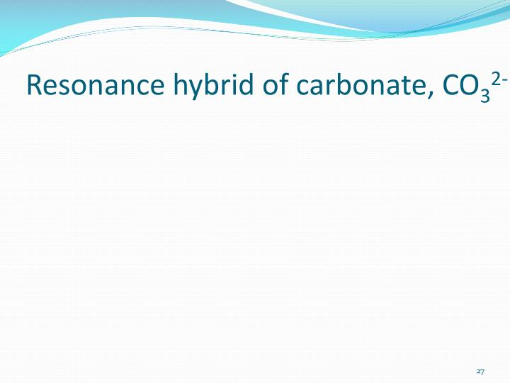 Resonance hybrid of carbonate, CO