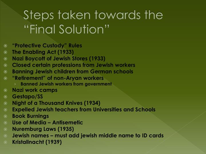 "Steps taken towards the ""Final Solution"""