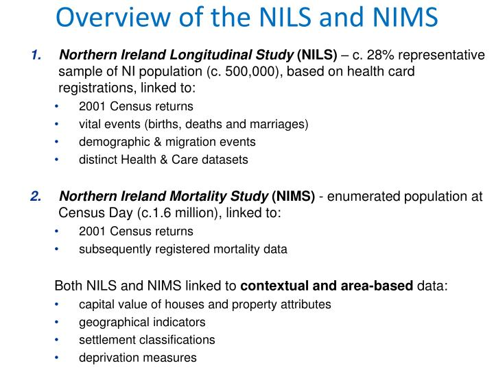 Overview of the NILS and NIMS