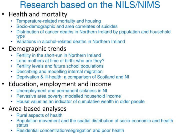 Research based on the NILS/NIMS