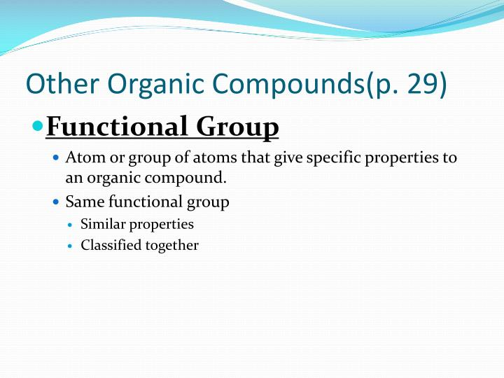 Other organic compounds p 29