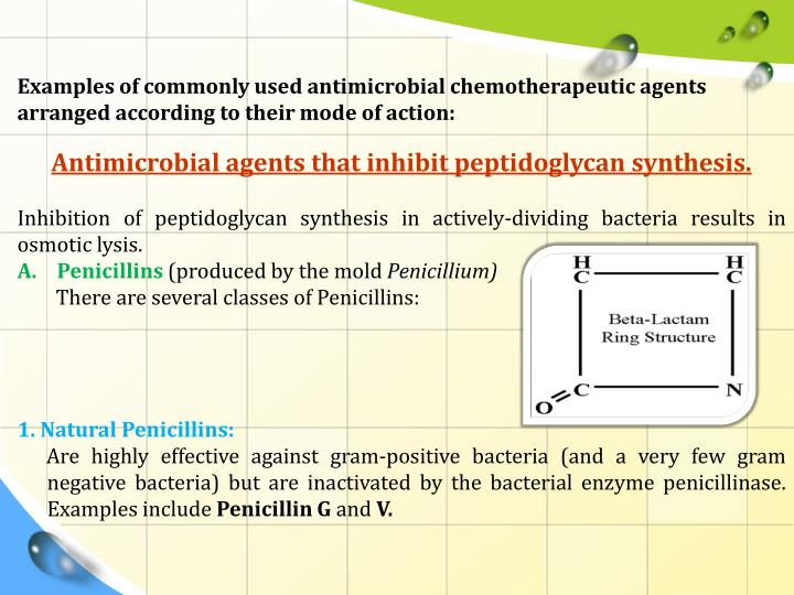 Examples of commonly used antimicrobial chemotherapeutic agents arranged according to their mode of action: