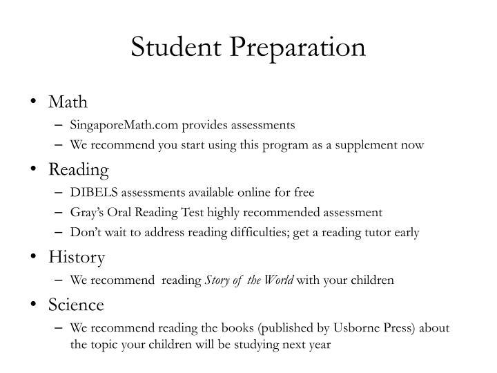 Student Preparation