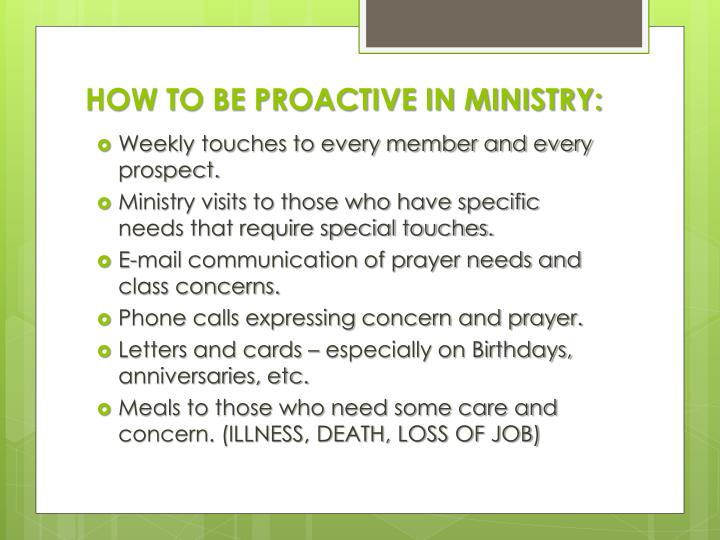 HOW TO BE PROACTIVE IN MINISTRY: